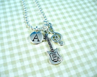 Guitar Charm, Musical Charm, Initial Charm, Silver Charm Necklace
