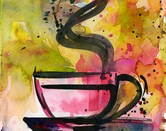 "Coffee Cup painting, Colorful Abstract Coffee watercolor art, Original ooak painting ""Coffee Dreams 6""  by Kathy Morton Stanion  EBSQ"
