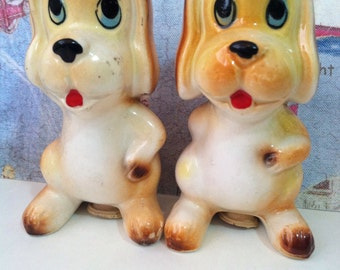 VERY RARE Vintage Retro 1950's Cartoon Dog Couple Salt and Pepper Shakers Collectibles or Cake Toppers