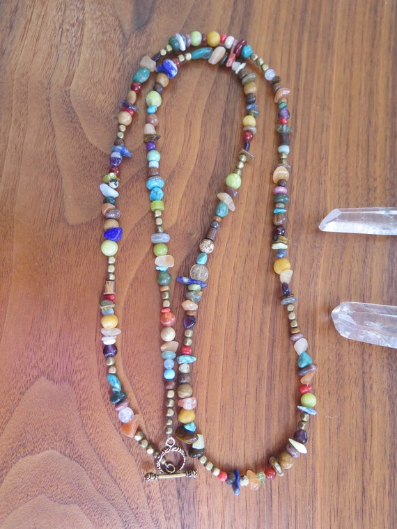 Long Beaded Stone Necklace - Brass - Boho Gypsy Colorful Jewelry - Bohemian Festival Style - Crystal Healing - Layering Hippie Gems - Bright