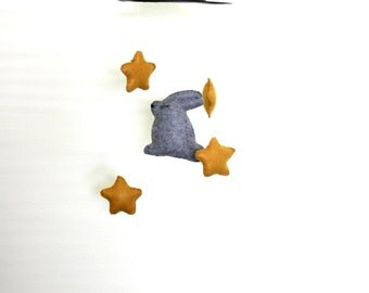 Magic Bunny Stars Nursery Mobile Magician Gold Gray Top Hat Mobil Baby Boy Crib Decor