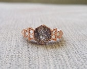 "Antique Diamond Rutilated Quartz Engagement Ring Rose Gold 1920s Grey Black Copper Gemstone Rustic Bohemian PenelliBelle ""The Florence"""
