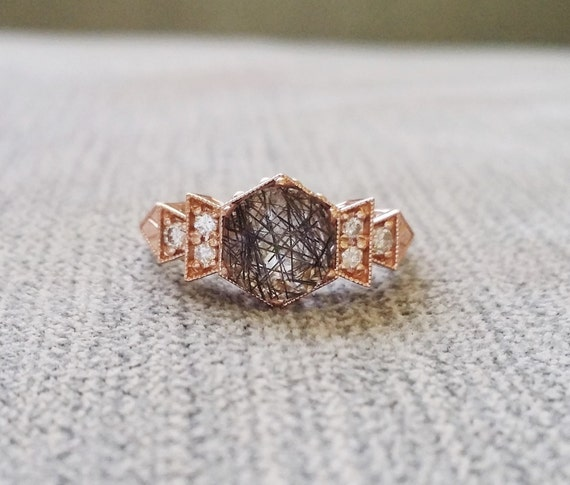 Antique diamond rutilated quartz engagement ring rose gold for Quartz wedding rings