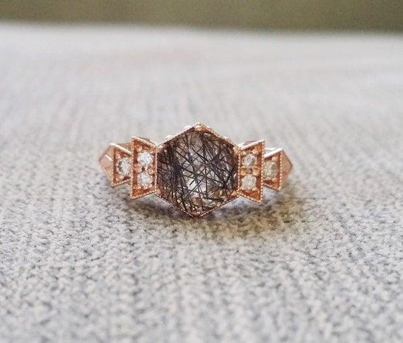 Quartz Wedding Rings Antique Diamond Rutilated Quartz Engagement Ring Rose Gold