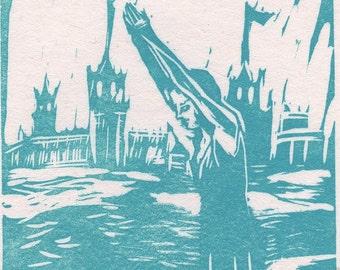 Limited Edition Linoleum Print - Take the Plunge - in Aqua