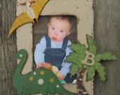 DINOSAUR Kids Picture Frame - Original Hand Painted Wood Keepsake