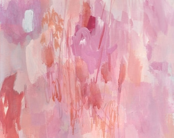original abstract painting on paper, blossom