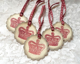 British Crown Tags, Vintage style Tags, Burgundy Taupe, Set of 5, English England UK, Shabby Chic, Distressed, Royalty