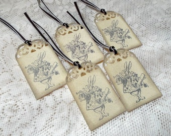 White Rabbit Tags, Vintage style tags, Alice in Wonderland, Set of 5, Gray Beige Tan Taupe, Shabby Chic, Distressed, Party Favor, Gift Tags