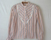 Prairie Blouse Striped Shirt High Neck Puff Sleeve Victorian Style 70s Blouse
