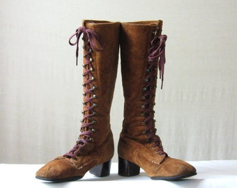 Knee High Boots Suede Lace Up Boots 60s 70s Brown Boots Size 6 /36