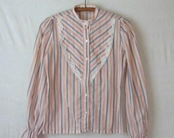 Prairie Blouse Striped Shirt High Neck Puff Sleeve Victorian Style 70s Blouse