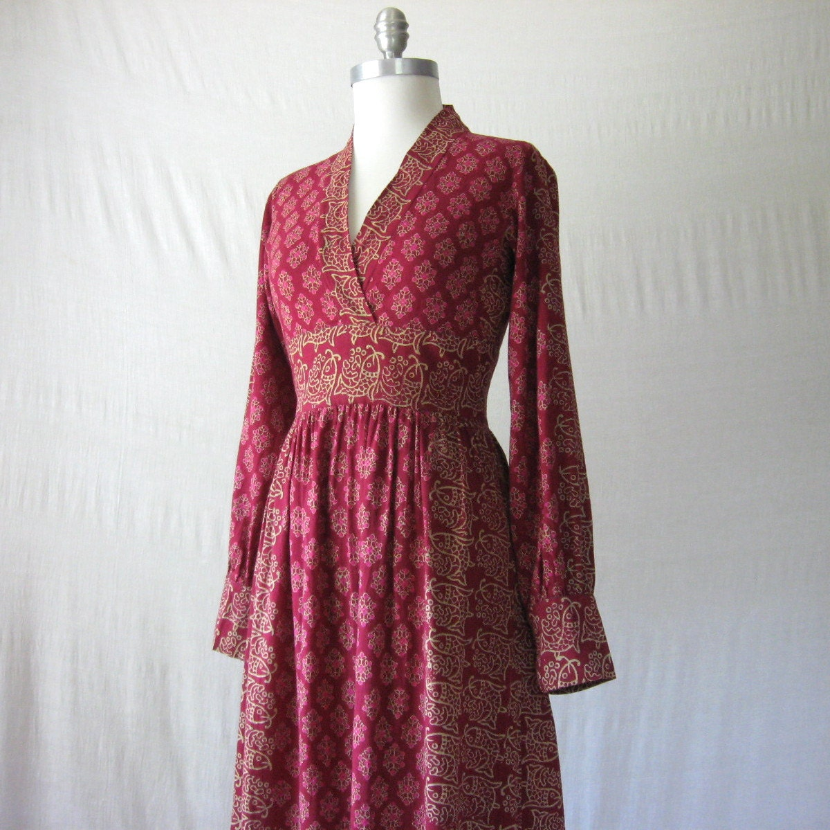 Indian Maxi Dress Block Print Dress 60s 70s India Cotton Dress