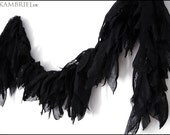 Elegant All Black Fabric Boa by Kambriel - Vegan Neck Wrap Scarf - Brand New and Ready to Ship!