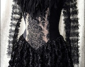 Blackbird Queen - Tattered Couture Gothic Fairytale Gown by Kambriel - Antique Victorian Lace - Designer Sample