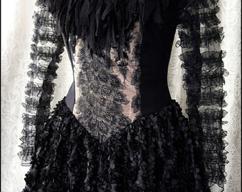 Tattered Couture Gothic Fairytale Gown by Kambriel - Antique Victorian Lace - Ready to Ship!
