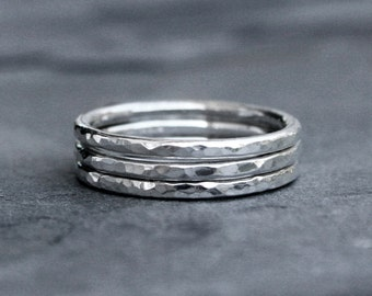 Sterling Silver Stacking Rings, Stack of Three Hammered Rings, Hand Made Ring Bands, Shiny Polish Faceted Texture Finish
