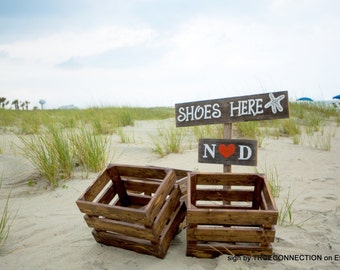 Shoes Here Sign, Beach Wedding Sign, Rustic Wood Signs, Romantic Outdoor Weddings Hand Painted Reclaimed Wood. Cute Beach Signs, House Sign