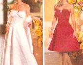 Elegant Designer gown Joan Leslie evening wear cocktail length strapless dress jacket stole Butterick 6526 Sewing pattern Sz 6 to 10 UNCUT