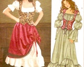Fitted corset vest and flared skirt Pirate Medieval style sewing pattern Simplicity 3906 Size 12 to 16 UNCUT
