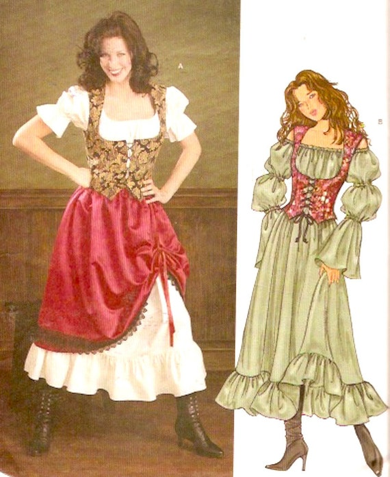 Renaissance Wedding Dress Costume History Mccall S By Heychica: Fitted Corset Vest And Flared Skirt Pirate Medieval Style