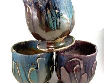 Ceramic Tumbler Mug with Pedestal Base - Blue and Green (18 oz) - Handmade Art Vessels - Art Pottery - Ready to Ship