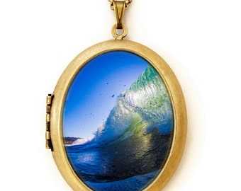 Wave Runner - Ocean Photography - Photo Locket Necklace