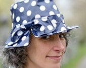 Fedora Rain Hat - Ladies - Laminated Cotton - Navy Dot - Ingrid