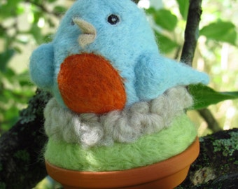 Needle Felted Blue Bird in Nest and Terracotta Pot