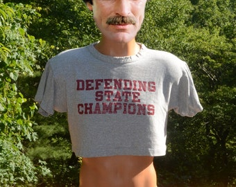 70s vintage t-shirt half shirt DEFENDING state champs crop top gray football tee Medium Large champion blue bar rayon