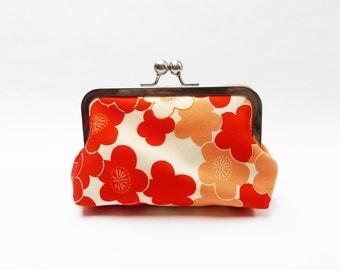 Clutch bag, blossom print, orange and cream, vintage Japanese kimono fabric, evening purse