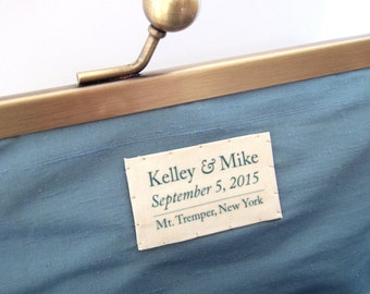 Custom silk label for clutch bag: hand-stitched / personalised message / wedding momento / bridal gift
