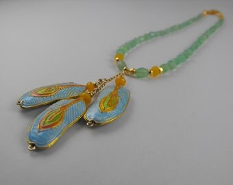 Chalcedony, Jade, and Cloissionne Enamel 3 Feather Drop Necklace