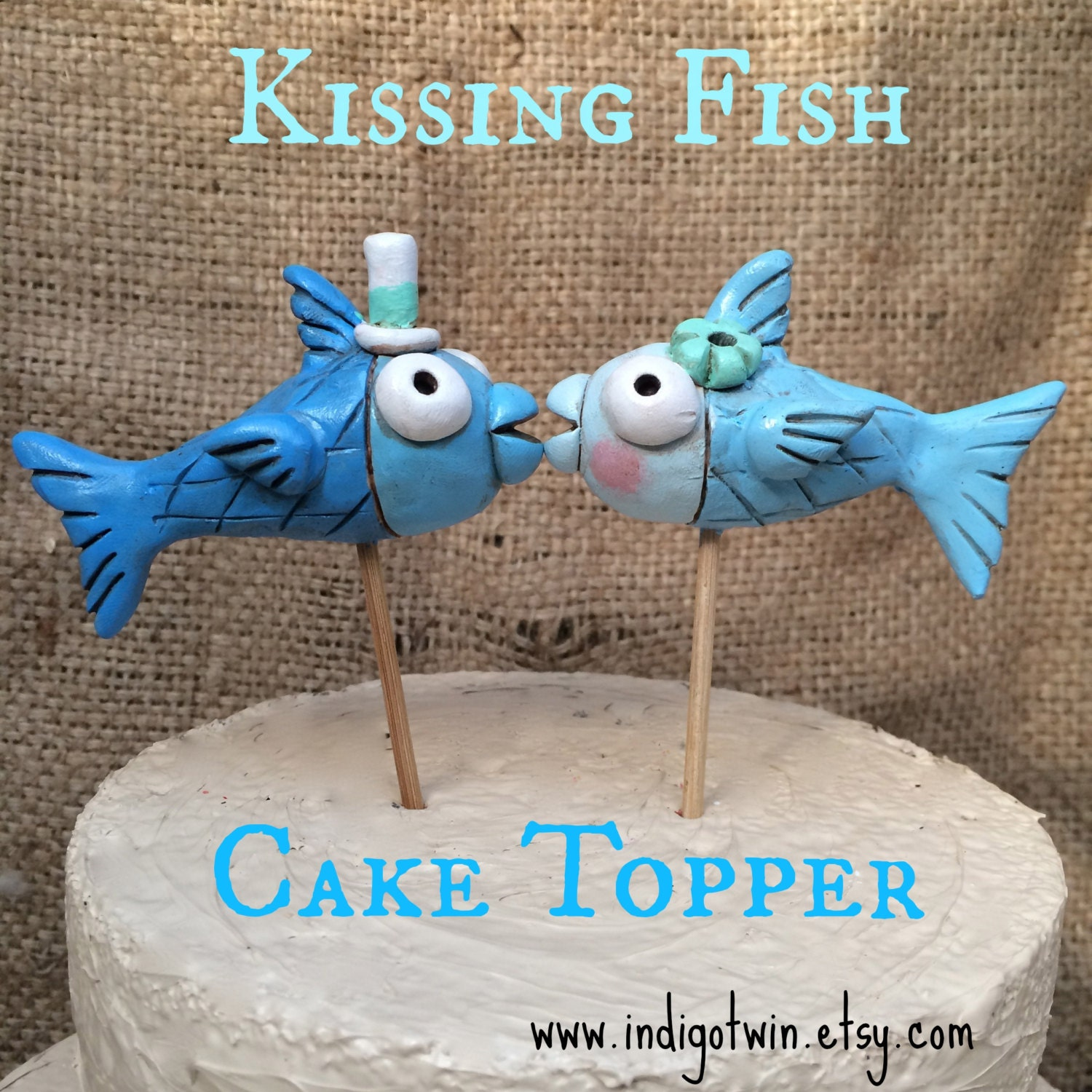 Kissing fish ornament - Blue Kissing Fish Cake Topper For Your Rustic Beach Wedding