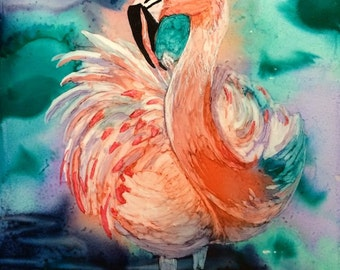 Fluffy Flamingo Original Alcohol Ink 5x7 Painting