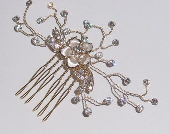 One of a Kind Swarovski Rhinestone and Gold Wire  Hair Comb Brooch