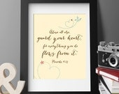 PRINTABLE ART Guard Your Heart Proverbs Scripture, 8x10, Bible verse, home decor, wall art for nursery, kitchen, office, housewarming - 2