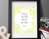 PRINTABLE ART Trust In the LORD Proverbs Scripture, 8x10, Bible verse, home decor, wall art for nursery, kitchen, office, housewarming - 1