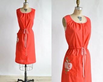 1960s Red House Dress --- Vintage Smart Time Dress
