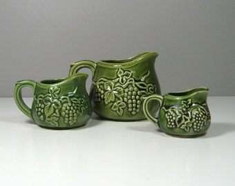 Green Ceramic Pitcher Measuring Cup Set Mid Century Made in Japan Grape Motif