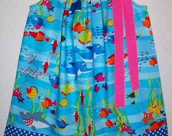 Pillowcase Dress Under the Sea Dress with Fish Girls Dresses Whales Dolphins Sharks Ocean Animals Dress Beach Party Dress Summer Dresses
