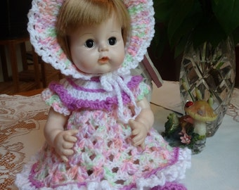 Crochet outfit Sweet Tears 12 13 inch baby doll Dress Set Pink Violet Green Lavender Peach