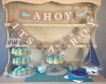 Ahoy Itu0027s A Boy Baby Shower Banner, Nautical Theme, Baby Shower, Whales,
