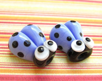 2 Glass Ladybug Beads 14mm Blue Handmade Lampwork Ladybird SRA PCJ J
