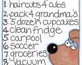 "Original Illustration - Folk Art - Cute Whimsical - 3"" x 4"" - Mama Bear's To-Do List"