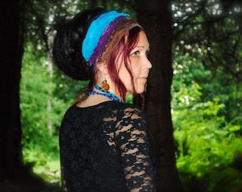 Blue purple brown Headband, Dreadband, Dread Wrap, Women's Headband, Gypsy, Intergalactic Apparel, Dreadlocks, Braids