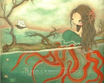 Octopus Print Nautical Girl Starfish Ship Ocean Wall Art---8 x 8