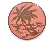 Miami Compact, 4 Inch Flapjack, Palm Trees on Pink Enamel, Pressed Powder with Original Puff, Vintage 1950s