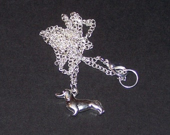 silver plated dachshund necklace