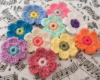 Crochet Daisy Appliques|Set of 10